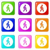 Pedestrians only road sign icons 9 set Stock Photos