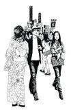 Pedestrians in a street of Tokyo vector illustration
