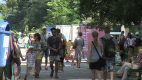 Pedestrians on the streets of Varna stock video footage