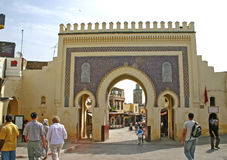 Pedestrians and tourists at the monumental Bab Bou Jeloud or Bl Royalty Free Stock Image