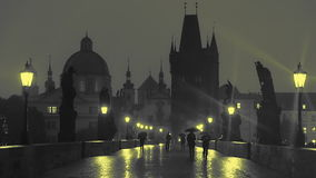 Pedestrians with Umbrellas on the Charles Bridge at Night. Slow Motion stock video