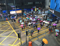 Pedestrians with umbrellas cross road, Hong Kong Royalty Free Stock Image