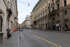 Pedestrians and urban transport in Rome Stock Image