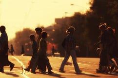 Pedestrians w backlit Zdjęcie Royalty Free