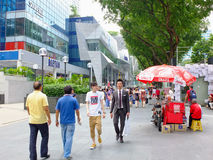 Pedestrians walking on Orchard Road Royalty Free Stock Photo