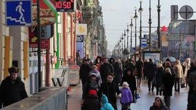 Pedestrians walking on the sidewalk, St.Petersburg. HD 1080p: Pedestrians walking on the sidewalk along the Nevsky Prospekt in Winter, St Petersburg, Russia stock footage