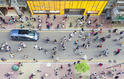 Pedestrians walking on a street, high angle view Royalty Free Stock Photography