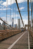 Pedestrian walkway on Brooklyn Bridge New York USA Stock Images
