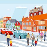 Pedestrians on zebra crossing. An illustration of pedestrians crossing the street with cars and houses in the background Royalty Free Stock Image