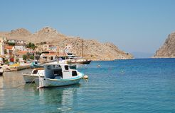 Pedi harbour, Symi Royalty Free Stock Photos