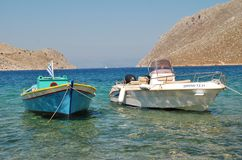 Pedi harbour, Symi Stock Photos