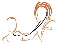 Pediatra com estetoscópio Imagens de Stock