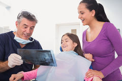 Pediatric dentist explaining to young patient and her mother the x-ray Royalty Free Stock Photography