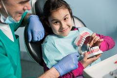 Pediatric dentist showing to girl dental jaw model at dental clinic. Dentistry, early prevention, oral hygiene concept stock image