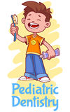 Pediatric Dentistry. Poster with a boy Royalty Free Stock Photos