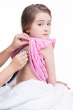 Pediatric doctor examine little girl with stethoscope. Royalty Free Stock Images