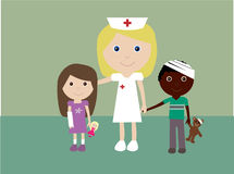 Pediatric nurse and 2 injured children Stock Photos
