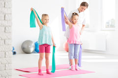 Pediatric physical therapy in a friendly form Royalty Free Stock Image