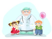 Pediatrician. Kind medicine doctor pediatrician with children Royalty Free Stock Images