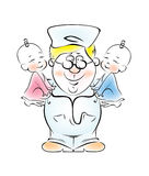 Pediatrician. Illustration of a pediatrician, who is holding the twins Stock Photo