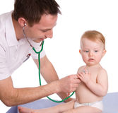 Pediatrician. A pediatrician and a child on white background Royalty Free Stock Photos