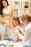 Pediatrician apply injection to little girl Royalty Free Stock Image