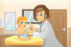 Pediatrician with baby. A  illustration of a pediatrician examining a baby in the doctor office Stock Photo