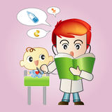 Pediatrician with a baby. Pediatrician with a baby reading a book during medical checkup Stock Illustration