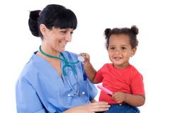 Pediatrician with a beautiful baby girl Stock Photo