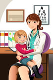 Pediatrician with child. A vector illustration of a pediatrician with a little child sitting on her lap Stock Photos