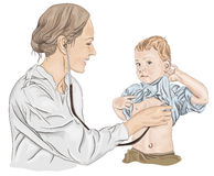 Pediatrician with child Stock Images