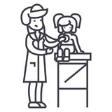 Pediatrician doctor,woman doctor doing medical examination of young girl baby with stethoscope  vector line icon, sig Royalty Free Stock Photography