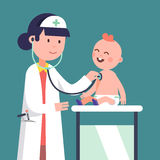 Pediatrician doctor woman examining baby boy vector illustration