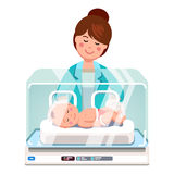 Pediatrician doctor woman examining newborn baby. Pediatrician doctor woman or nurse examining little newborn baby inside medical intensive care unit incubator stock illustration