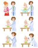Pediatrician, doctor working with baby, infant. Female pediatrician, doctor doing medical exam, checkup for baby, infant, cartoon vector illustration isolated on Royalty Free Stock Photo