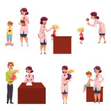 Pediatrician, doctor working with kids, chidren Royalty Free Stock Image