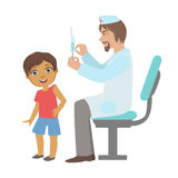 Pediatrician Doing A Vaccination To Little Boy, Part Of Kids Taking Health Exam Series Of Illustrations. Child On Appointment With A Doctor Going Through Royalty Free Stock Photos