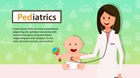 Pediatrician Examine Baby Boy with Stethoscope. royalty free illustration
