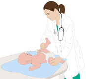 Pediatrician examining of baby illustration Royalty Free Stock Photography