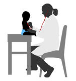 Pediatrician examining of baby with stethoscope Stock Image