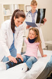 Pediatrician examining girl broken leg Royalty Free Stock Image