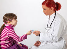 The pediatrician get a health insurance card Stock Images