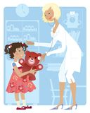 Pediatrician and girl. Little girl at pediatrician's office Royalty Free Stock Photos