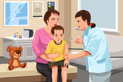 Pediatrician giving a shot to a little child. A vector illustration of a pediatrician giving a shot to a little child Stock Photos