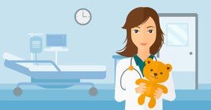 Pediatrician holding teddy bear. A pediatrician holding a teddy bear on the background of hospital ward vector flat design illustration. Horizontal layout Royalty Free Stock Photography
