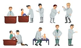 Pediatrician icons set, cartoon style royalty free illustration