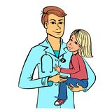 Pediatrician with a kid. Male doctor holding a child. Pediatrician with a patient. Health worker interacting with a child. Editable vector graphics illustration Stock Photo