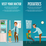 Pediatrician And Kid Vertical Banners. Pediatrician and kid vertical cartoon banners with measuring of height and examination of throat isolated vector Stock Photo