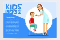 Pediatrician looking at boy s throat with tongue depressor. Vector illustration of woman pediatrician looking at boy s throat with tongue depressor. Family Stock Photography