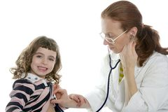 Pediatrician woman doctor stethoscope girl Royalty Free Stock Images